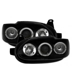 FAROS CON OJOS DE ANGEL FORD ESCORT MK 6 Y 7. COLOR NEGRO.