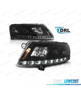 FAROS AUDI A6 (04-08). CRISTAL FONDO NEGRO CON LUCES REALES DIURNAS (REAL DAY LIGHT)