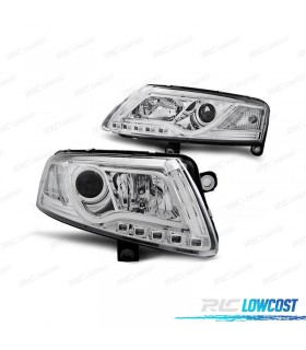 FAROS DELANTEROS AUDI A6 4F 04-08 LIGHT BAR FONDO CROMO*REVISADO*