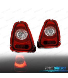 PILOTOS TRASEROS MINI COOPER R56 / R57 10-14 LIGHT BAR ROJO/CROMO*REVISADO*