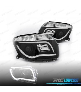 FAROS DELANTEROS DACIA DUSTER 10-13 TUBE LIGHT FONDO NEGRO*REVISADO*
