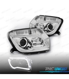 FAROS DELANTEROS DACIA DUSTER 10-13 TUBE LIGHT FONDO CROMO*REVISADO*