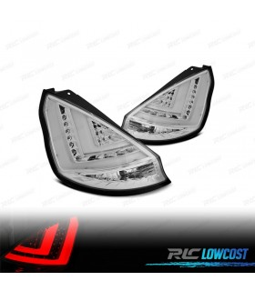 PILOTOS TRASEROS FORD FIESTA MK7 12- LIGHT BAR FONDO CROMO*REVISADO*