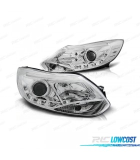 FAROS DELANTEROS FORD FOCUS 11-14 TUBE LIGHT+LED FONDO CROMO*REVISADO*