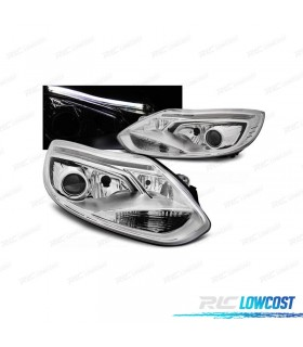 FAROS DELANTEROS FORD FOCUS 11-14 TUBE LIGHT FONDO CROMO*REVISADO*
