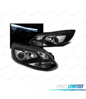 FAROS DELANTEROS FORD FOCUS 11-14 TUBE LIGHT FONDO NEGRO*REVISADO*
