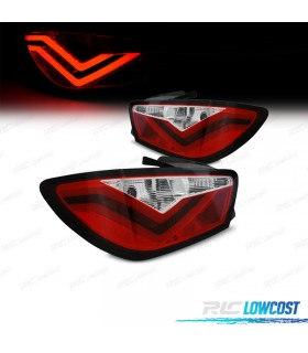 PILOTOS TRASEROS SEAT IBIZA 08-12 LIGHT BAR ROJO/CROMO*REVISADO*