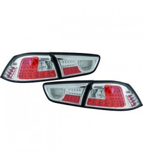 PILOTOS TRASEROS LED LANCER, SEDAN 08++- CRISTAL CLARO/CROMADO