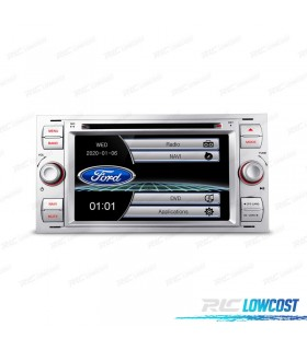 "RADIO NAVEGADOR 7"" FORD CUADRADA COLOR PLATA USB GPS TACTIL HD"