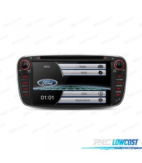 "RADIO NAVEGADOR 7"" FORD REDONDA COLOR NEGRO USB GPS TACTIL HD"