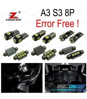 Kit completo de 20 bombillas LED interior para 2003-2013 Audi A3 S3 8 P 3 puerta Y 5 puerta Sportback