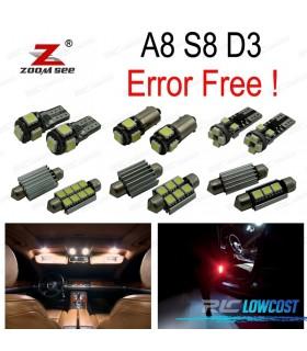 Kit completo de 23 bombillas LED interior para Audi A8 S8 D3 Quattro (2003 -2009)