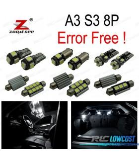 Kit completo de 12 bombillas LED interior para Audi A3 S3 8 p (2006- 2013)