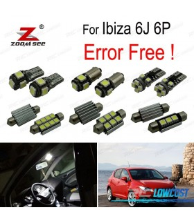 Kit completo de 8 bombillas LED interior para asiento Ibiza V MK5 SPORTCOUPE ST 6J 6 P (2009-2016)