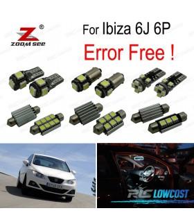 Kit completo de 6 bombillas LED interior para Ibiza MKV MK 5 SPORTCOUPE ST 6J 6 P (2009-2016)