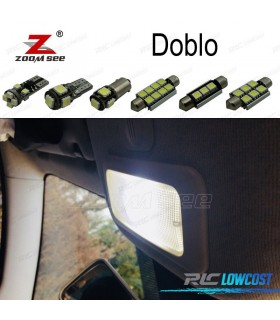 Kit completo de 7 bombillas LED interior para 2000-2017 Fiat Doblo